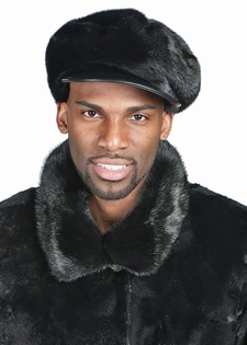 1097c50ea9bac Mens Mink Hat - Mink Cap with Leather Bill
